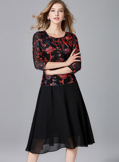 Plus Size Embroidered Splicing Black Dress