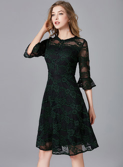 Flare Sleeve Mesh Splicing Print Dress