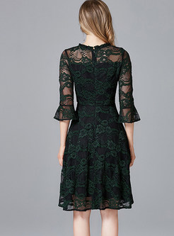 Flare Sleeve Mesh Splicing Print Dress