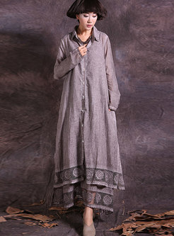 Turn-down Collar Lace-paneled Cardigan Coat