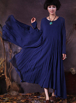 Cotton Splicing Long Sleeve Dress With Big Hem