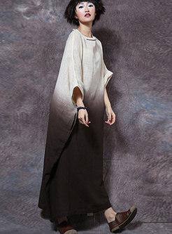 Dolman-sleeve Embroidered Straight Vintage Dress