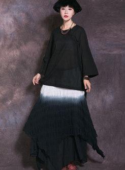 Stylish Asymmetric Pure Color Hem Maxi Skirt