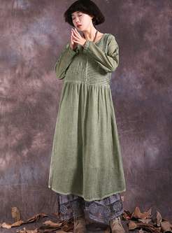 O-neck Cotton Vintage Pleated Shift Dress
