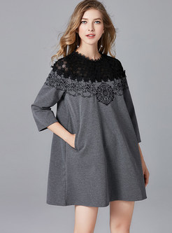 Plus Size Lace Splicing Loose Shift Dress