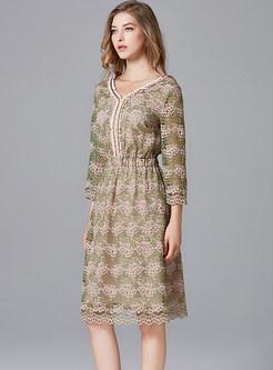 Vintage V-neck Elastic Waist Slim Dress