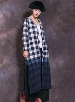 Fashion Plaid Single-breasted Straight Long Coat