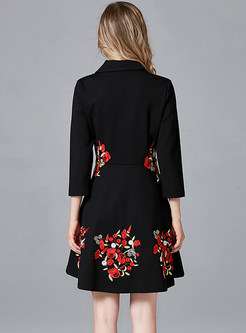 Notched Collar Embroidered High Waisted Short Dress