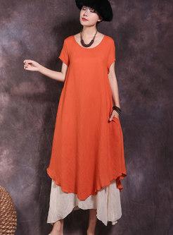 Vintage Short Sleeve Color-block Shift Dress