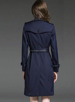 Notched Double-breasted Beaded Trench Coat