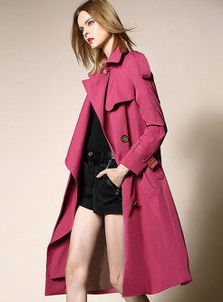 Pure Color Notched Belted Slit Trench Coat