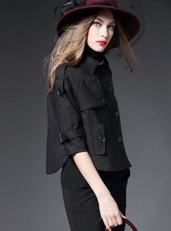 Trendy Lapel Cloak Plus Size Short Trench Coat