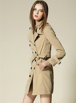 Fashion Tie-waist Pocket Double-breasted Trench Coat