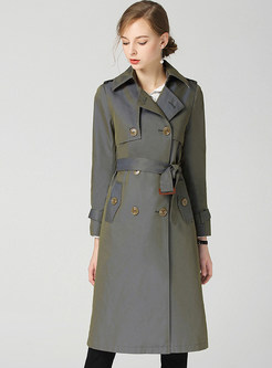 Stylish Turn Down Collar Belted Patchwork Trench Coat