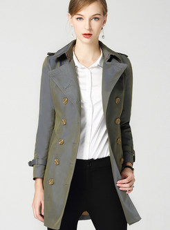 Fashion Notched Bowknot Belted Pocket Trench Coat