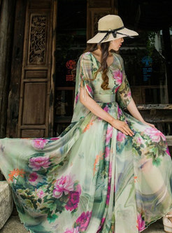 Trendy Short Sleeve Floral Printed Chiffon Maxi Dress