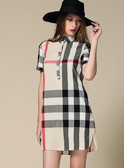 Turn Down Collar Slit Plaid Mini Dress
