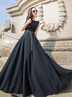 Party O-neck Sleeveless High Waist Big Hem Dress