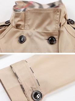 Trendy Standing Collar Slim Trench Coat
