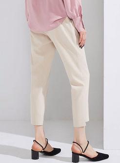 Pure Color Elastic Waist Pencil Pants