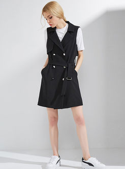 Solid Color Double-breasted Notched Belted Slim Vest