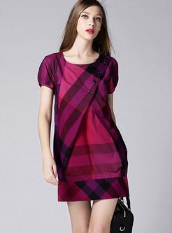 Fashion Purple O-neck Cotton Plaid A Line Dress