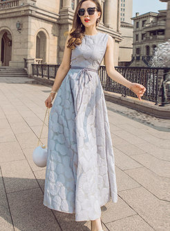 Sky Blue Jacquard Sleeveless Beach Maxi Dress