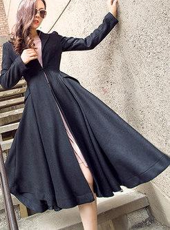 Autumn Trendy V-neck Black Wool Trench Coat