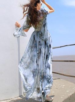 Chiffon Gathered Waist Slim Beach Maxi Dress