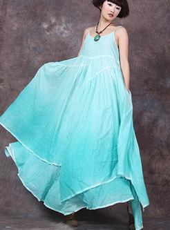 Chic Chiffon Splicing Double-layered Sling Dress