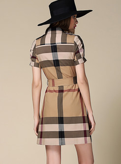 Lapel Single-breasted Cotton Plaid Belted Dress