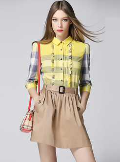 Lapel Plaid Splicing Cotton Belted Dress