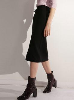 Pure Color Tied Slit Sheath Skirt