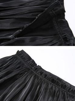 Solid Color Elastic Waist Slit Pleated Skirt