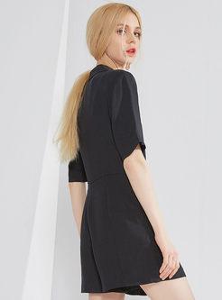 Black Notched Belted Slim Jumpsuit