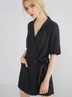 Black Notched Belted Slim Jumpsuit