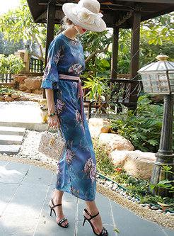 Slash Neck Flare Sleeve Plus Size Tie-waist Dress