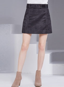 Solid Color High Waist Mini Skirt