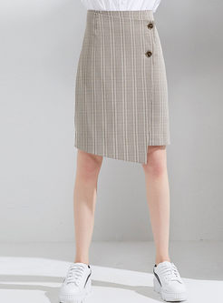Chic Grid Asymmetric Mini Skirt