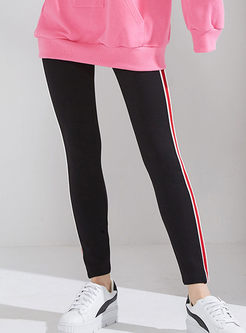 Striped Splicing Slim Elastic Leggings