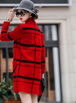 Trendy Turn-down Collar Plaid Slim Knitted Coat