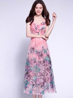 Bohemian Print Waist Slim Suspender Maxi Dress