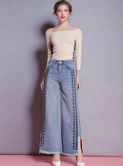 Denim Embroidered Tassel Patch Slit Wide Leg Pants