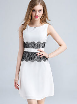 Color-blocked Splicing Sleeveless High Waist A Line Dress