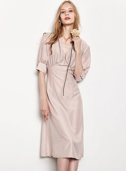 Pure Color Lantern Sleeve Gathered Waist Slim Dress