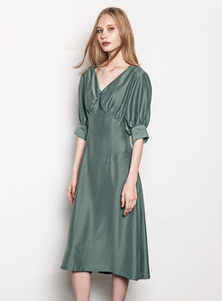 Pure Color Lantern Sleeve Gathered Waist Slim Dress