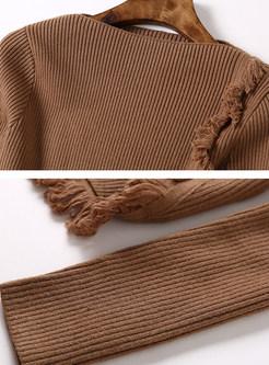 Solid Color Slash Neck Tassel Slim Knitted Sweater