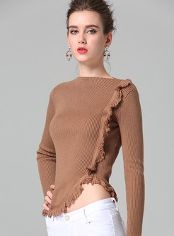 Solid Color Slash Neck Tassel Slim Knitted Sweater