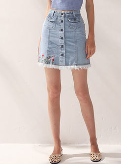 Denim Single-breasted Embroidered Tassel Patch Slim Skirt