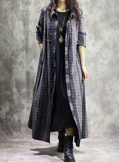 Loose Single-breasted Lapel Long Coat